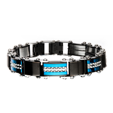Double Sided Stainless Steel Plated Reversible Bracelet V1 // Blue + Black