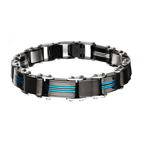 Double Sided Stainless Steel Plated Reversible Bracelet V2 // Blue + Black