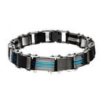 Double Sided Stainless Steel Plated Reversible Bracelet V2 // Blue + Black