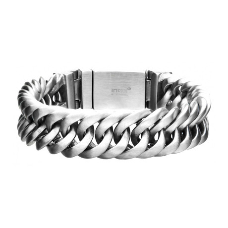 Matte Double Layer Curb Colossi Link + Chain Bracelets // Silver