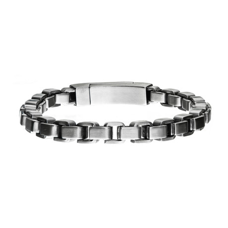 Stainless Steel Bold Box Bracelet // Silver