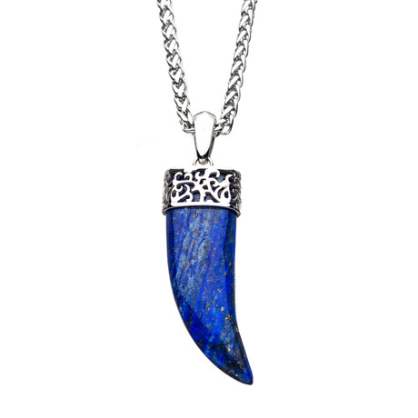 Lapis Lazuli Claw Stainless Steel Pendant // Blue