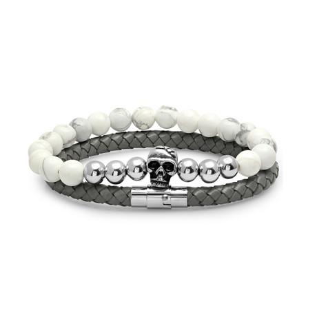 Leather Braided Bracelet + Skull Marble Beaded Bracelet // Gray + White // Set of 2