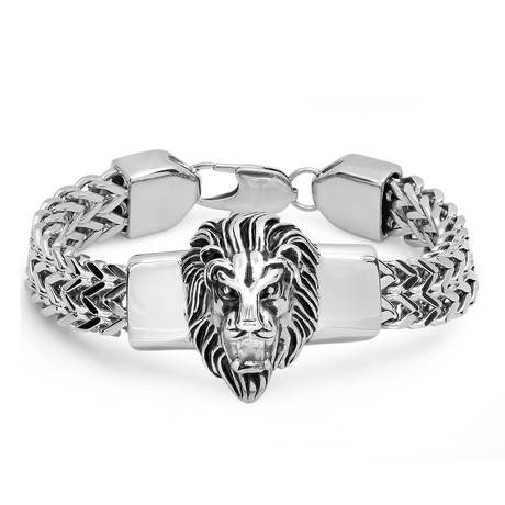 Stainless Steel Lion Head Box Chain Bracelet