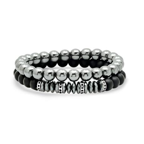 Hematite Beaded Bracelet Set