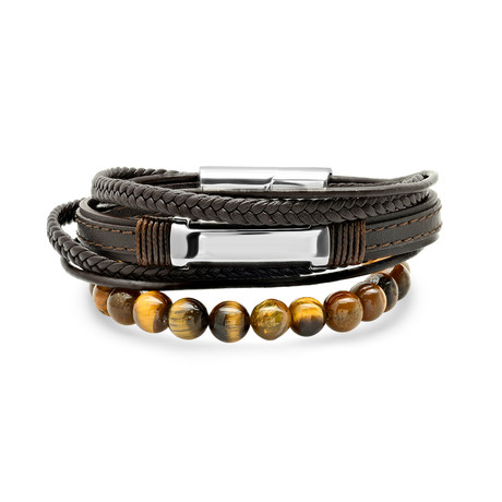Layered Leather + Stainless Steel ID Bracelet + Tiger Eye Beaded Bracelet // Set of 2 // Metallic + Brown