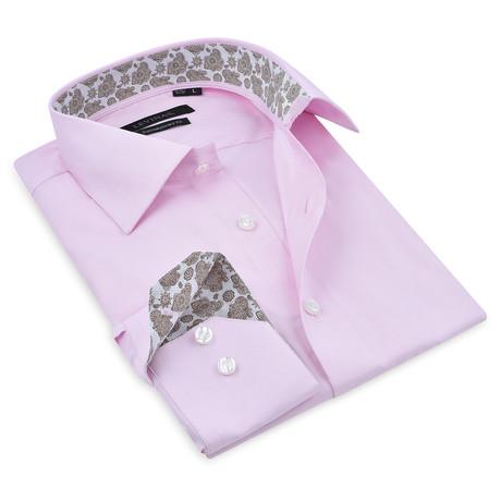 Button-Up Shirt // Pink + Brown (S)