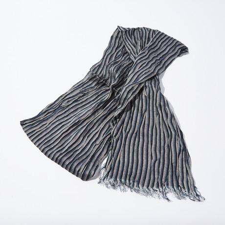 Fine Stripe Print Scarf // Gray