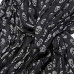 Scull Print Scarf // Charcoal