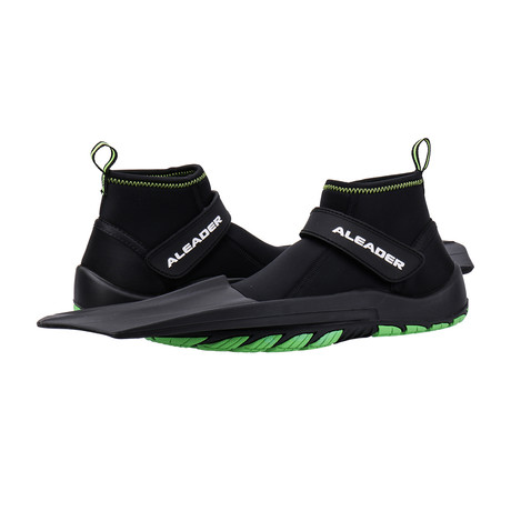 Unisex Hydro Snorkeling Fins Diving Shoes // Black + Green (US: 7)