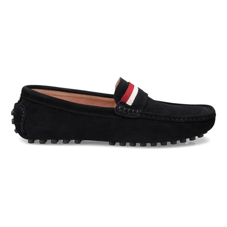 Suede Leather Slip-On Moccasin Loafers // Black (US: 8)