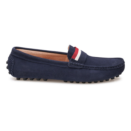 Suede Leather Slip-On Moccasin Loafers // Navy (US: 8)