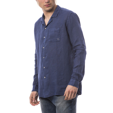 Long Sleeve Button Down Shirt // Blue (L)