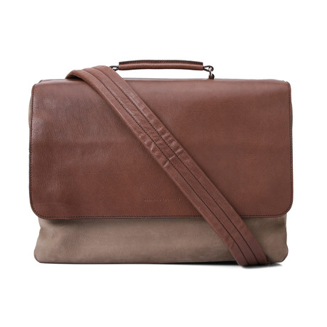 Suede Two-Tone Messenger Briefcase Bag // Brown