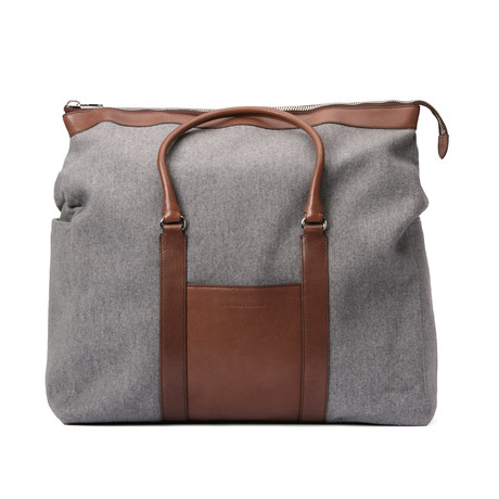 Two-Tone Suitcase Travel Bag // Gray + Brown
