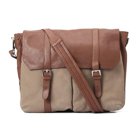 Suede + Leather Briefcase Bag // Tan + Brown