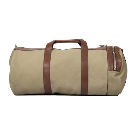 Suede + Leather Two Tone Duffel Travel Bag // Olive + Brown