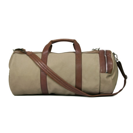 Brunello Cucinelli // Suede + Leather Two-Tone Duffel Travel Bag // Olive + Brown