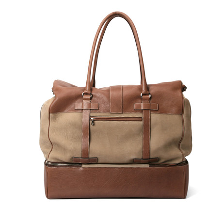 Suede And Leather Two Tone Suitcase Travel Bag // Tan + Brown