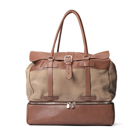 Suede + Leather Two-Tone Suitcase Travel Bag // Tan + Brown
