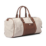 Linen And Leather Overnight Travel Bag // Cream + Brown