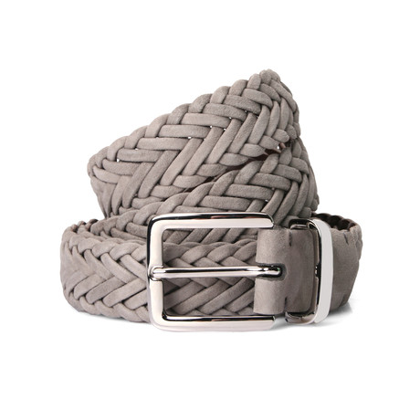 "Suede Braided Belt // Gray (41"" Length)"