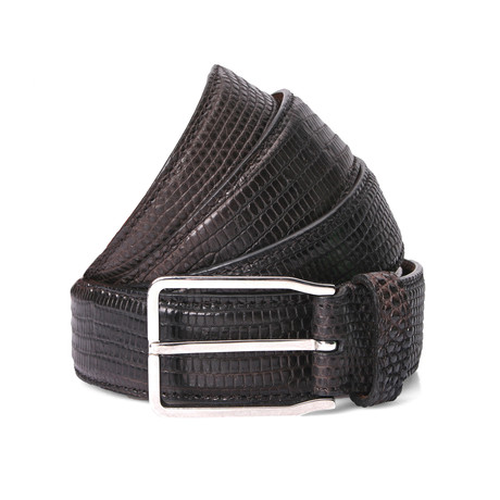 "Lizard Belt + Silver Buckle // Brown (41"" Length)"