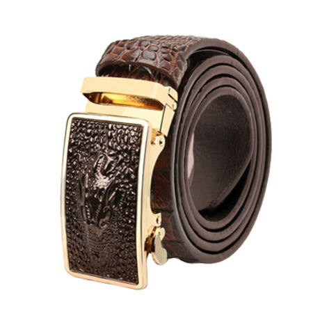 Niall Leather Automatic Belt // Brown Crocodile + Gold
