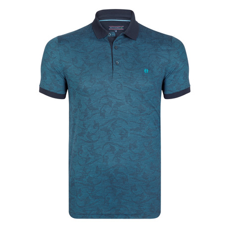 Roland SS Polo Shirt // Navy + Green (XS)