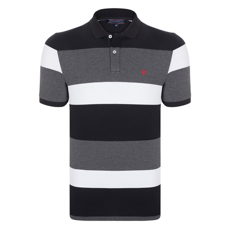 Michael SS Polo Shirt // Black + Red (XS)