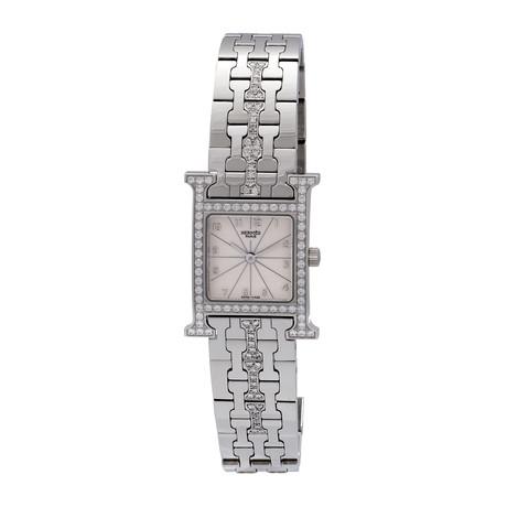 Vintage Hermes Heure H Diamond + Stainless Steel Quartz Watch