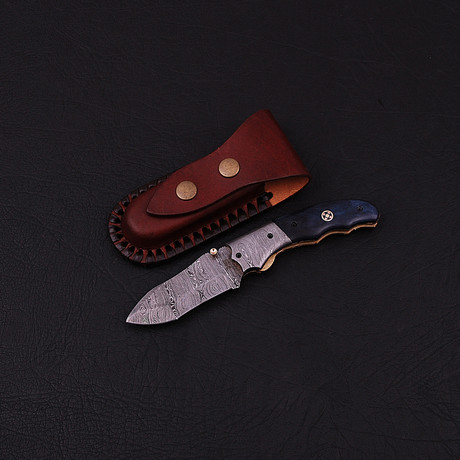 Handmade Damascus Liner Lock Folding Knife // 2704