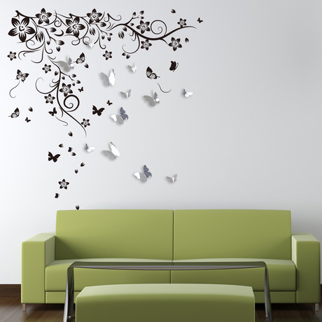 Huge Butterfly Vine + 3D Mirror Butterflies Wall Sticker