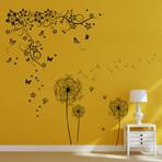 Huge Butterfly Vine + Black Dandelion Wall Sticker