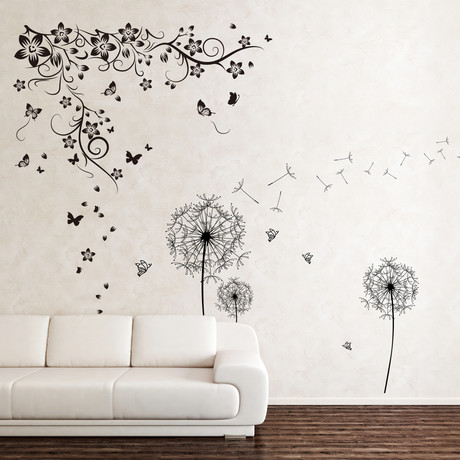Huge Butterfly Vine + Black Dandelion Wall Sticker