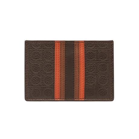Salvatore Ferragamo // Grained Leather Card Holder Wallet // Brown