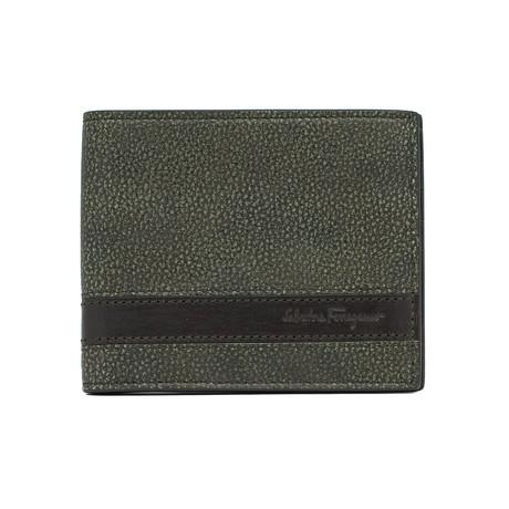 Salvatore Ferragamo // Grained Leather Bifold Wallet V2 // Green + Brown