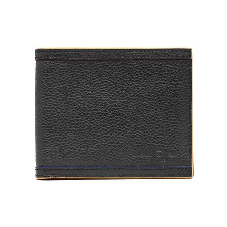 Salvatore Ferragamo // Grained Leather Bifold Wallet // Blue