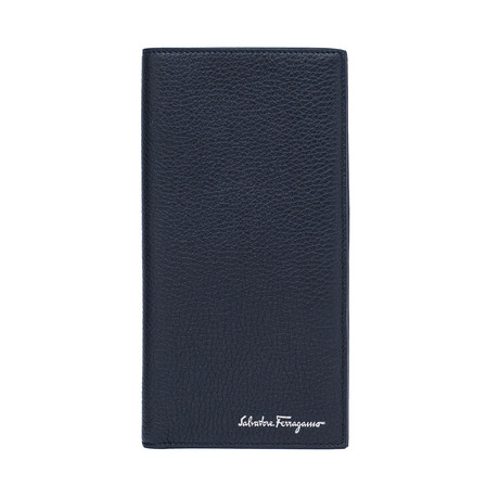 Salvatore Ferragamo // Grained Leather Long Wallet // Blue