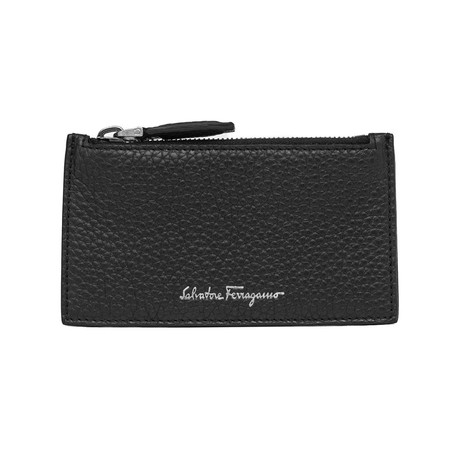Salvatore Ferragamo // Grained Leather Zip Card Holder Wallet // Black