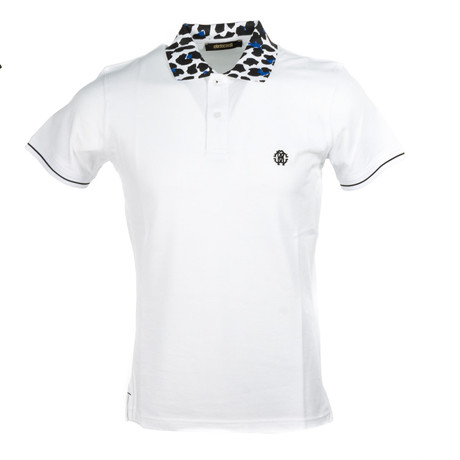 Polo + Cheetah Accent // White + Blue (2XL)