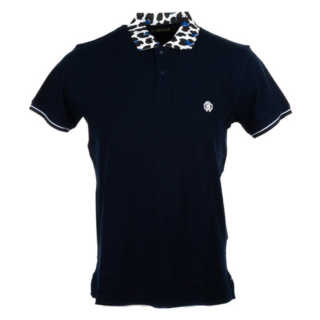 Polo + Cheetah Accent // Navy + White (S)