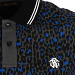 Cheetah Print Polo // Blue + Gray (L)