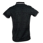 Cheetah Print Polo // Black + Gray (S)