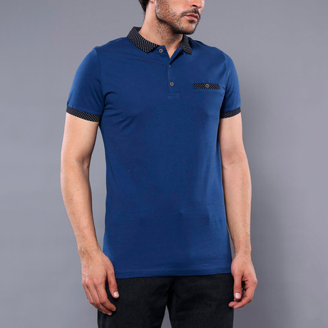 Lyndon Solid Short Sleeve Polo Shirt // Indigo (M)