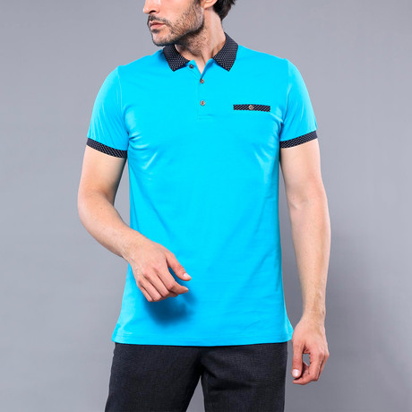 Miran Solid Short Sleeve Polo Shirt // Turquoise (S)