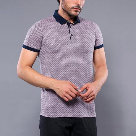 Lincoln Microprint Short Sleeve Polo Shirt // Purple (M)