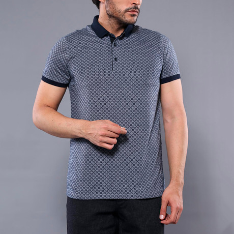 Square Printed Polo Shirt // Smoked (M)