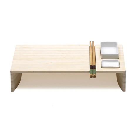 Kobe Sushi Board + Ceramic Bowls