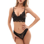 Lace Bralette + Thong Set // Black (M)
